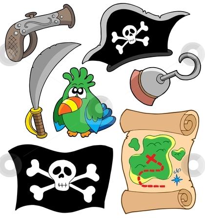 Pirate equipment collection stock vector clipart, Pirate equipment collection - vector illustration. by Klara Viskova