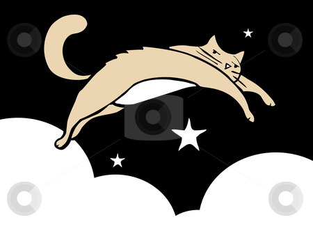 Leaping Cat stock vector clipart, Cat leaping thought the sky at night with stars and clouds. White Space good for text. by Jeffrey Thompson