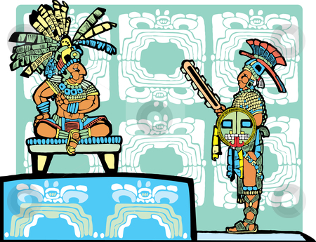 Mayan King and Warrior stock vector clipart, Mayan King on throne speaks to a warrior in full regalia. by Jeffrey Thompson