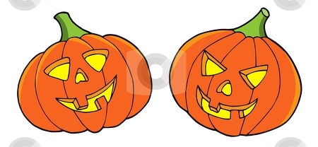 Pair of Halloween pumpkins stock vector clipart, Pair of halloween pumpkins - vector illustration. by Klara Viskova