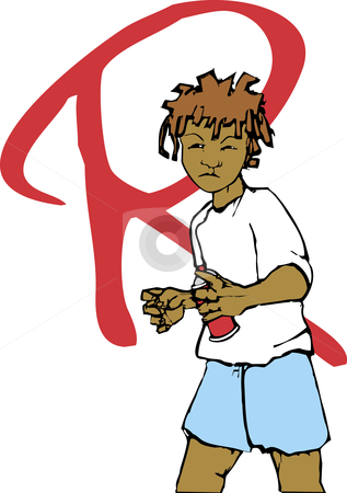 Graffiti  stock vector clipart, Youth with dreadlocks and spray can tags a wall. by Jeffrey Thompson