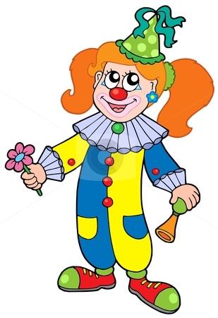 Cartoon clown girl stock vector clipart, Cartoon clown girl - vector illustration. by Klara Viskova