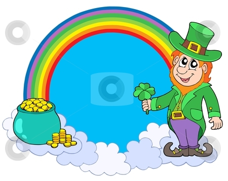 Rainbow circle with leprechaun stock vector clipart, Rainbow circle with leprechaun - vector illustration. by Klara Viskova