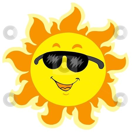 Cute summer Sun with sunglasses stock vector clipart, Cute summer Sun with sunglasses - vector illustration. by Klara Viskova