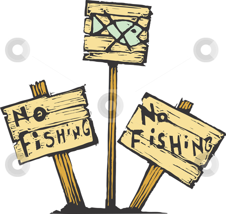 No Fishing stock vector clipart, Three no fishing signs made of wood. by Jeffrey Thompson