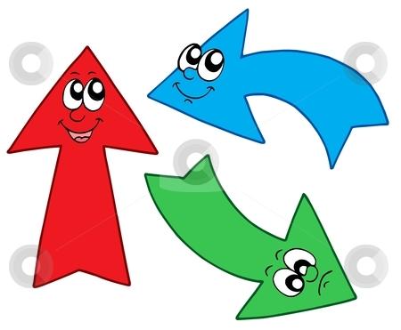 Three cute arrows stock vector clipart, Three cute arrows - vector illustration. by Klara Viskova
