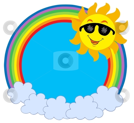 Cartoon Sun with sunglasses in raibow circle stock vector clipart, Cartoon Sun with sunglasses in rainbow circle - vector illustration. by Klara Viskova