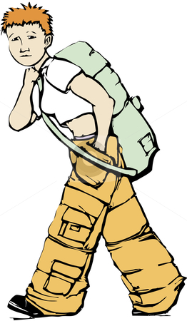 Walking Girl in Cargo Pants stock vector clipart, Girl in cargo pants carries an army green duffel bag. by Jeffrey Thompson