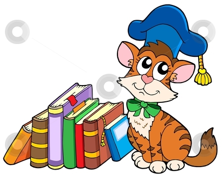 Cat teacher with books stock vector clipart, Cat teacher with books - vector illustration. by Klara Viskova