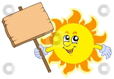 Summer Sun with wooden table stock vector clipart, Summer Sun with wooden table - vector illustration. by Klara Viskova