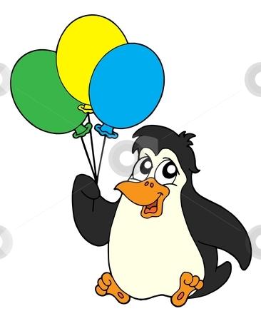 Penguin with balloons - vector illustration stock vector clipart, Penguins with balloon - vector illustration. by Klara Viskova