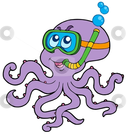Octopus snorkel diver stock vector clipart, Octopus snorkel diver - vector illustration. by Klara Viskova
