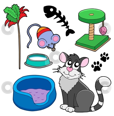 Cats collection stock vector clipart, Cats collection on white background - vector illustration. by Klara Viskova