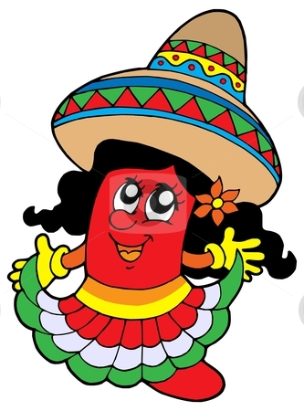 Cute Mexican chilli girl stock vector clipart, Cute Mexican chilli girl - vector illustration. by Klara Viskova