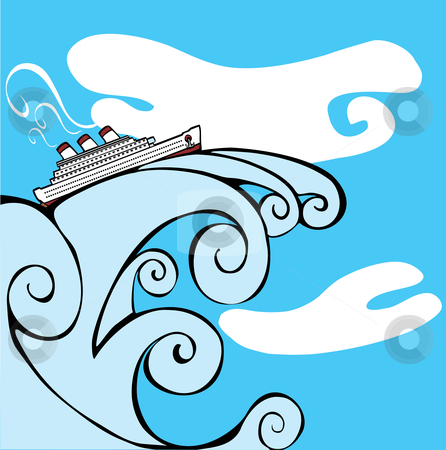 Cruise Ship on a Tsunami. stock vector clipart, Cruise Ship riding on the cresting wave of a tsunami. by Jeffrey Thompson