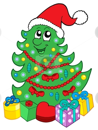 Smiling Christmas tree with gifts stock vector clipart, Santa Christmas tree with gifts - vector illustration, by Klara Viskova