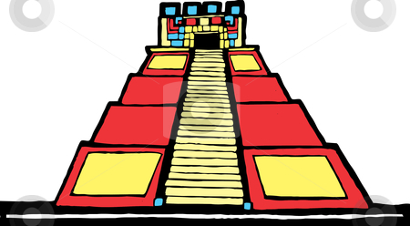 Mayan Pyramid stock vector clipart, Mayan Pyramid designed after Mesoamerican Pottery and Temple Images. by Jeffrey Thompson