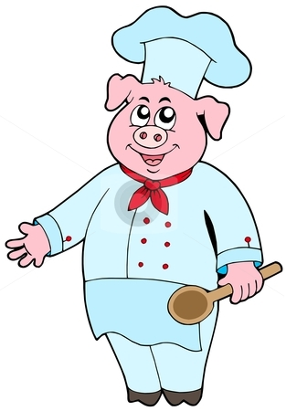 Pig chef stock vector clipart, Pig chef on white background - vector illustration. by Klara Viskova