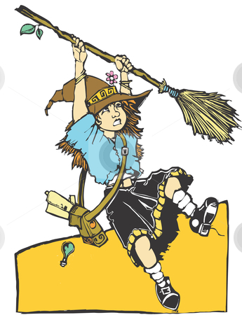 Broom Trouble stock vector clipart, Young apprentice witch having trouble with her broom. by Jeffrey Thompson