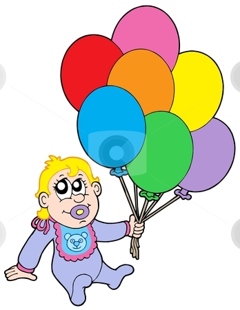 Baby with balloons stock vector clipart, Baby with balloons - vector illustration. by Klara Viskova