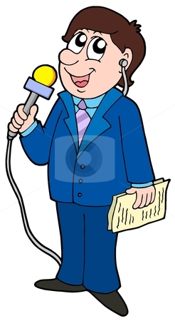 TV reporter stock vector clipart, TV reporter with microphone - vector illustration. by Klara Viskova