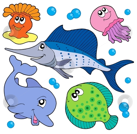 Cute marine animals collection 2 stock vector clipart, Cute marine animals collection 2 - vector illustration. by Klara Viskova