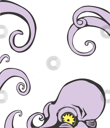 Octopus Head stock vector clipart, Purple octopus head and arms. Can be moved around to border another image. by Jeffrey Thompson