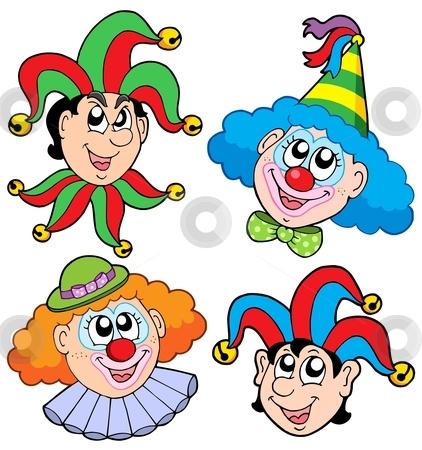 Clowns head collection 2 stock vector clipart, Clowns head collection 2 - vector illustration. by Klara Viskova