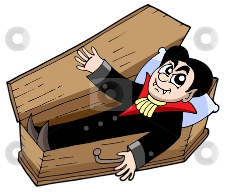 Vampire in coffin stock vector clipart, Vampire in coffin - vector illustration. by Klara Viskova
