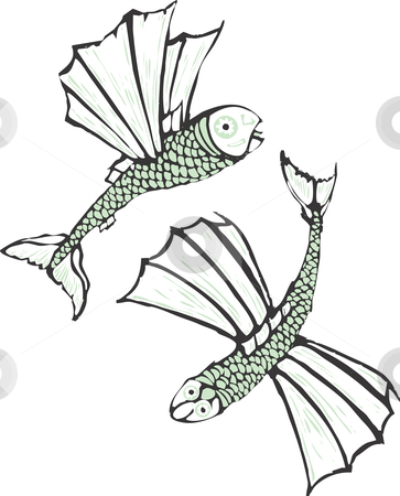 Two flying fish  stock vector clipart, Two flying fish rendered in a simplistic scratch board style. by Jeffrey Thompson