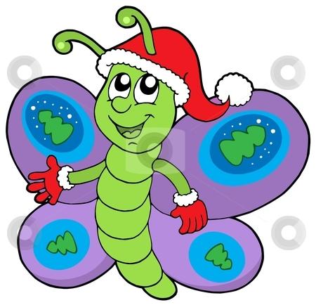 Cute Christmas butterfly stock vector clipart, Cute Christmas butterfly - vector illustration. by Klara Viskova