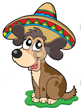 Cute Mexican dog stock vector clipart, Cute Mexican dog - vector illustration. by Klara Viskova