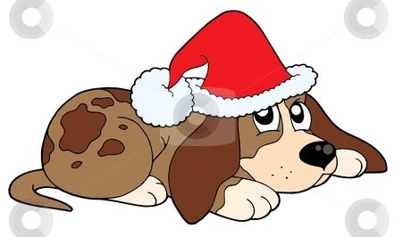Cute dog in Christmas cap vector illustration stock vector clipart, Cute dog in Christmas cap - vector illustration. by Klara Viskova