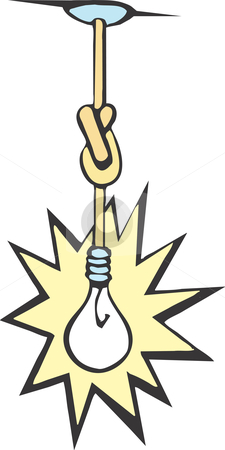 Idea Bulb stock vector clipart, Light bulb hanging from the ceiling with its cord tied in knots. by Jeffrey Thompson