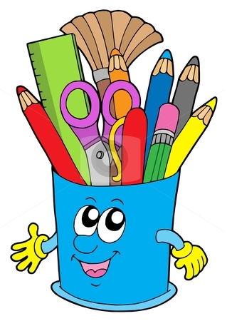 Cute cup with crayons stock vector clipart, Cute cup with crayons - vector illustration. by Klara Viskova