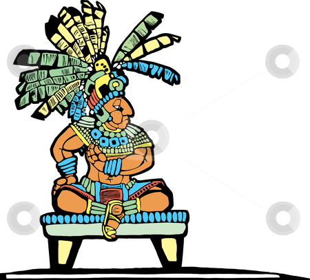 Mayan King stock vector clipart, Mayan King designed after Mesoamerican Pottery and Temple Images. by Jeffrey Thompson