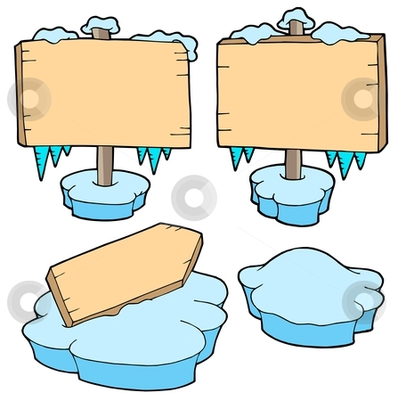 Icy wooden signs stock vector clipart, Icy wooden signs - vector illustration. by Klara Viskova
