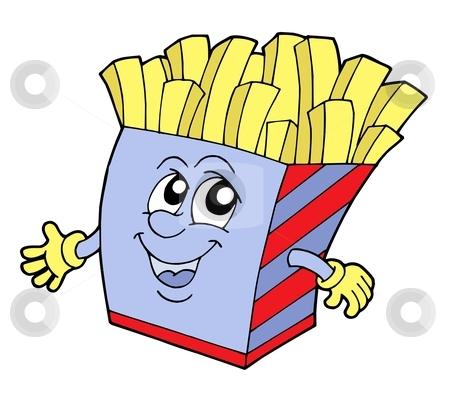 Pommes frites vector illustration stock vector clipart, Pommes frites in box with smiling face - vector illustration. by Klara Viskova