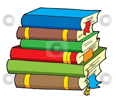 Pile of various color books stock vector clipart, Pile of various color books - vector illustration. by Klara Viskova
