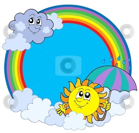 Sun and clouds in rainbow circle stock vector clipart, Sun and clouds in rainbow circle - vector illustration. by Klara Viskova