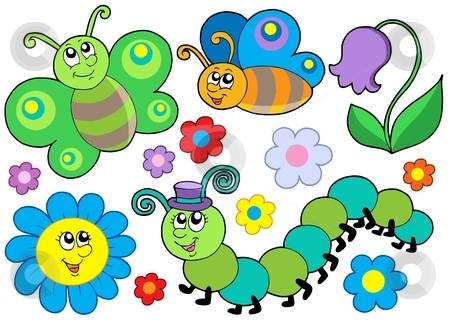 Bug and flower set stock vector clipart, Bug and flower set - vector illustration. by Klara Viskova