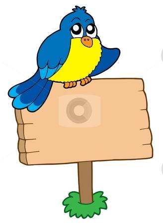 Wooden sign with sitting bird stock vector clipart, Wooden sign with sitting bird - vector illustration. by Klara Viskova