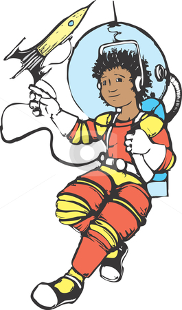 Girl in a spacesuit stock vector clipart, Girl in a spacesuit outside of a vintage rocket. by Jeffrey Thompson