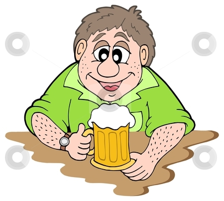 Beer drinker stock vector clipart, Beer drinker on white background - vector illustration. by Klara Viskova