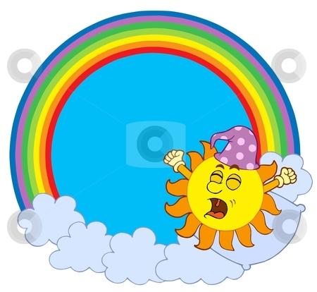 Waking up Sun in rainbow circle stock vector clipart, Waking up Sun in rainbow circle - vector illustration. by Klara Viskova
