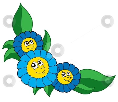 Three smiling blue flowers vector illustration stock vector clipart, Three smiling blue flowers - vector illustration. by Klara Viskova