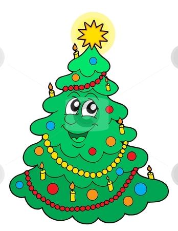 Smiling Christmas tree vector illustration stock vector clipart, Smiling Christmas tree - vector illustration. by Klara Viskova