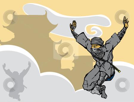 Leaping Ninja stock vector clipart, Ninja leaping through the fog near a Japanese castle. by Jeffrey Thompson