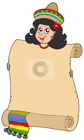 Cute Mexican girl holding scroll stock vector clipart, Cute Mexican girl holding scroll - vector illustration. by Klara Viskova
