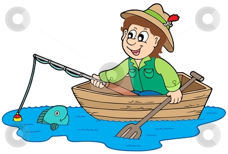 cartoon fisherman in boat. Fisherman in oat - vector